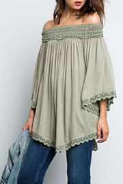Flowy Off the Shoulder Lace Tunic Top-Sage Green