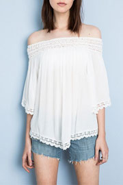 Flowy Off the Shoulder Lace Tunic Top-White