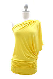 One Shoulder Tunic Top with Draped Arm-Yellow