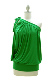 One Shoulder Cut Out Knotted Tunic Top with Draped Arm-Green