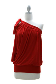One Shoulder Cut Out Knotted Tunic Top with Draped Arm-Red