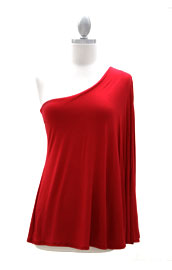 One Shoulder Kimono Slit Sleeve Tunic Top-Red