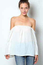 Bell Sleeve Boho Elastic Off the Shoulder Peasant Top-Off White
