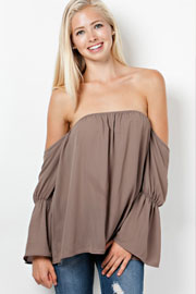 Bell Sleeve Boho Elastic Off the Shoulder Peasant Top-Taupe