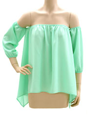 Elastic Off the Shoulder Unbalanced Peasant Top-Mint