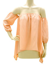 FLASH SALE: Elastic Off the Shoulder Unbalanced Peasant Top-Peach