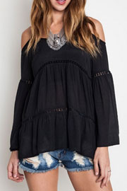 Boho Long Sleeve Cold Shoulder Bell Sleeve Peasant Top-Black