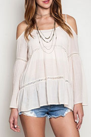 Boho Long Sleeve Cold Shoulder Bell Sleeve Peasant Top-Off White