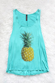 :As Seen In STYLEWATCH Magazine: Jersey Pineapple Print Tank Top-Mint
