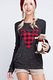 Plaid Reindeer Polka Dot Holiday Sweater Top-Dark Grey