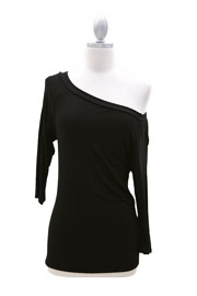 Loose Relaxed 3/4 Sleeve Off the Shoulder Jersey Top-Black