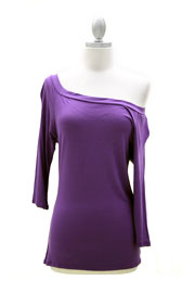 Loose Relaxed 3/4 Sleeve Off the Shoulder Jersey Top-Dusty Purple
