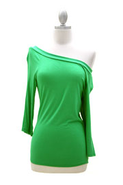 Loose Relaxed 3/4 Sleeve Off the Shoulder Jersey Top-Green