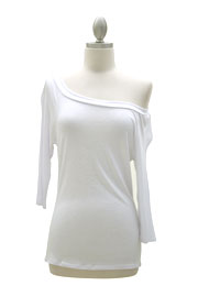 Loose Relaxed 3/4 Sleeve Off the Shoulder Jersey Top-White