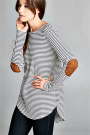 Pin Stripe Long Sleeve Tunic Top with Suede Elbow Patch-Navy Blue and White
