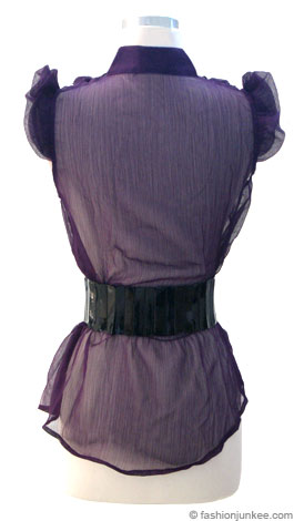 Sheer Chiffon Ruffle Top with Jeweled Belt-Purple :  blouse belted sheer button