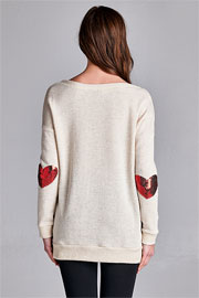 Valentine's Day French Terry Sequin Heart Elbow Patch Sweater Tunic-Beige