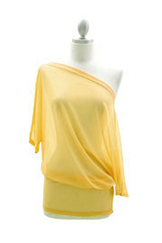 FLASH SALE: Sheer 3/4 Sleeve Cowl Neck, Off the Shoulder Top-Yellow