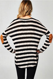 Slub Long Sleeve Stripe Top with Elbow Patch-Black & Beige