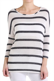 FLASH SALE: Knit Sparkle 3/4 Sleeve Striped Top-Black & White