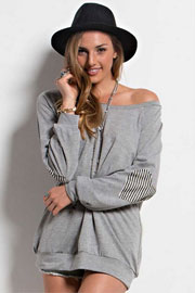 Off the Shoulder Striped Heart Elbow Patch Sweater Tunic-Grey