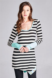 Striped Asymmetrical Long Sleeve Color Block Tunic Top with Buttons-Mint, Black & White