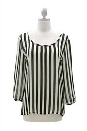 Sheer Chiffon Striped Bow Back Top-Black & White