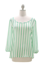Sheer Chiffon Striped Bow Back Top-Mint & White