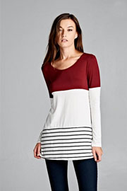 Long Sleeve Striped Color Block Tunic Top-Burgundy & White