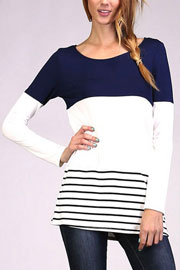 Long Sleeve Striped Color Block Tunic Top-Navy Blue & White