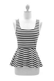 :As Seen On E!: Striped Peplum Tank Top with Open Back-Black & White