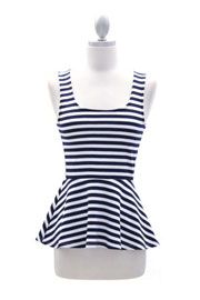 :As Seen On E!: Striped Peplum Tank Top with Open Back-Navy Blue & White