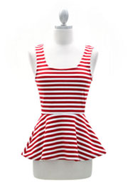Striped Peplum Tank Top with Open Back-Red & White