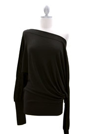 :As Seen In US WEEKLY: Long Sleeve Knit Sweater Off the Shoulder Top-Black