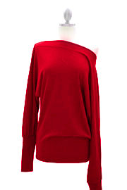 Long Sleeve Knit Sweater Off the Shoulder Top-Red