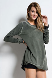 French Terry Oil Wash Oversized Long Sleeve Unbalanced Top-Olive Green