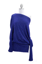 :As Seen In US WEEKLY: Long Sleeve Sweater Off the Shoulder Top-Blue