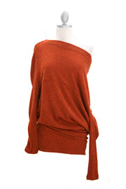 :As Seen In US WEEKLY: Long Sleeve Sweater Off the Shoulder Top-Rust