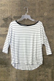 FLASH SALE: Loose 3/4 Sleeve Thin Striped Hi Low Top-Black & White