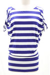 Jersey Striped Open Shoulder Knotted Tie Sleeves-Blue