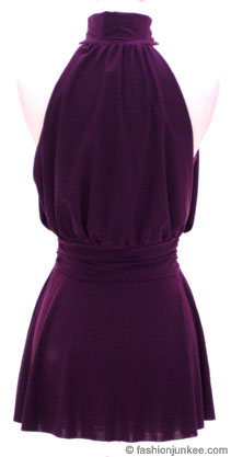 Sexy Choker Tank Top/Tunic Top-Purple :  top sexy cinched shirt