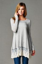 PLUS SIZE Lace Trim Bottom Hem Long Sleeve Jersey Tunic Top-Heather Grey