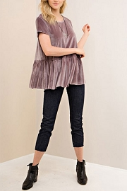 Velvet Short Sleeve Peplum Top-Pearl Grey