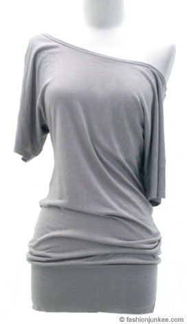 VICTORIA Jersey Short Sleeve Banded Off the Shoulder, Boat Neck Tunic Top-Grey