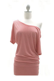 VICTORIA Jersey Short Sleeve Banded Off the Shoulder, Boat Neck Tunic Top-Dusty Pink