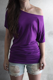 VICTORIA Jersey Short Sleeve Banded Off the Shoulder, Boat Neck Tunic Top-Dusty Purple