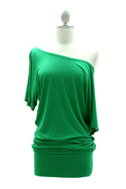 VICTORIA Jersey Short Sleeve Banded Off the Shoulder, Boat Neck Tunic Top-Green