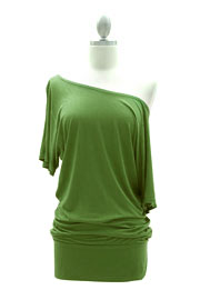 VICTORIA Jersey Short Sleeve Banded Off the Shoulder, Boat Neck Tunic Top-Light Olive