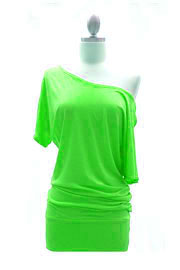 VICTORIA Jersey Short Sleeve Banded Off the Shoulder, Boat Neck Tunic Top-Lime Green