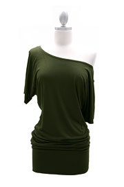 VICTORIA Jersey Short Sleeve Banded Off the Shoulder, Boat Neck Tunic Top-Olive